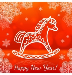 Red new year card with white paper horse vector image