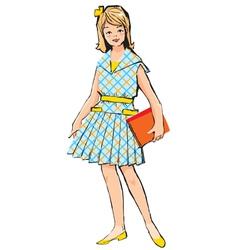 Retro School Girl vector image