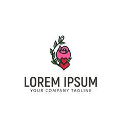 rose love logo hand drawn design concept template vector image