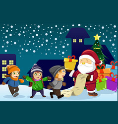 santa claus carrying present and holding a name vector image