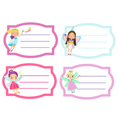 School labels with beautiful flying fairy name vector