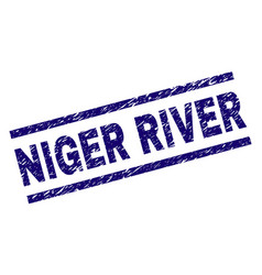 Scratched textured niger river stamp seal vector