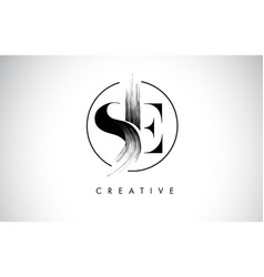 Se brush stroke letter logo design black paint vector