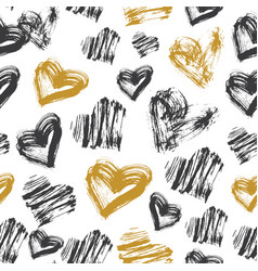 seamless heart pattern black white and gold ink vector image