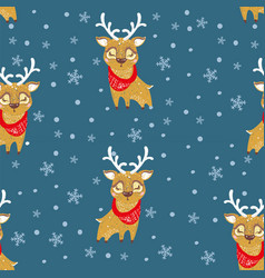 seamless pattern with cute deer in scarf can be vector image