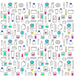 seamless pattern with decorative cosmetics vector image
