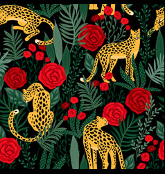 seamless pattern with leopards and roses vector image