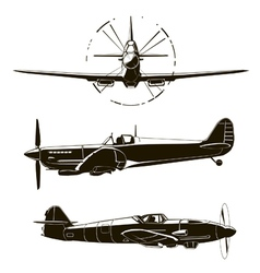 second world war fighters set vector image