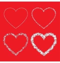 Set of Hand Drawn Grunge Hearts vector image