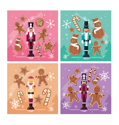 Set of nutcracker toy isolated icon vector