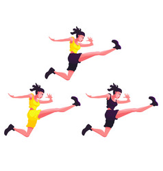 Set of white girls in a jump vector