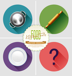 set with kitchen tools wooden rolling-pin plate vector image