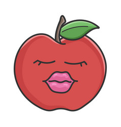 sexy lip red apple cartoon apple vector image