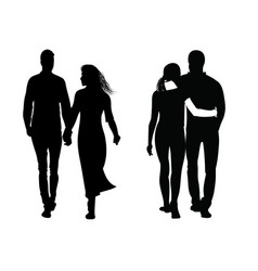 silhouette of a couple walking next to each other vector image