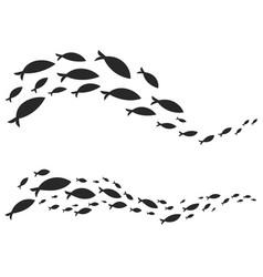 Simple design of fish swimming in figures vector