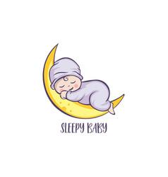 sleeping cute balogo designs template premium vector image