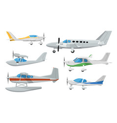 small propeller airplanes isolated set vector image