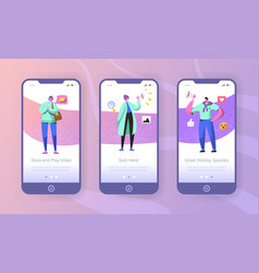 social marketing onboarding mobile app screens vector image