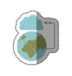 Sticker cloud storage global hosting database vector