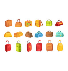 suitcases and other luggage bags set icons vector image