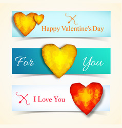 three valentines day banner set vector image