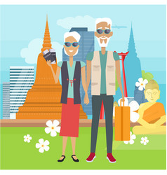 travel in old age concept in flat design vector image