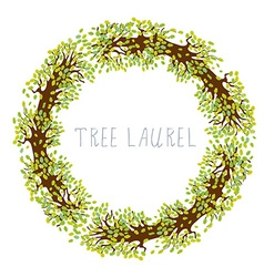 Tree laurel - round frame vector
