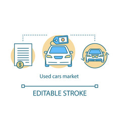 Used cars market concept icon taxi ordering idea vector
