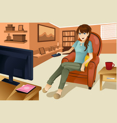 Woman watching television vector