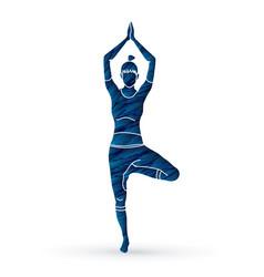 yoga class a woman practice yoga vector image