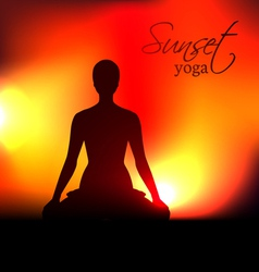 Yoga woman silhouette at sunset vector image