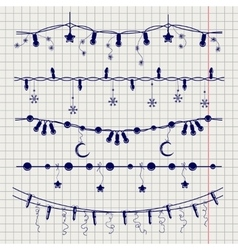 Ball pen sketch of christmas garlands vector image