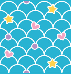 Blue pastel cute scale seamless pattern with vector
