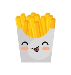 kawaii cute french fries box icon vector image