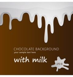 Melting milk on chocolate background isolated vector image