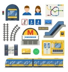 Metro underground symbols set vector image