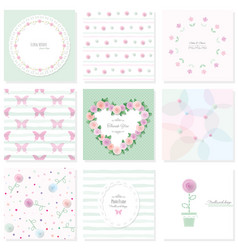 romantic design elements set included seamless vector image vector image