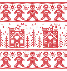 Scandinavian nordic christmas pattern with ginger vector image vector image
