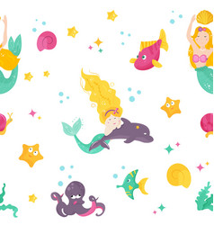 bright pattern with cute mermaids dophin fishes vector image