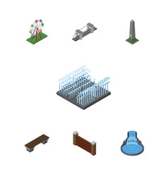 isometric city set of recreation barrier highway vector image vector image