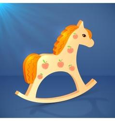 Little cartoon wooden horse toy vector image