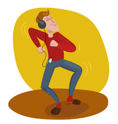 man dancing in headphones vector image vector image
