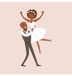 Newlyweds doing dirty dancing finale at the vector
