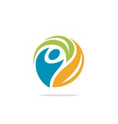 people circle ecology logo vector image vector image