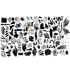 set of black ink stain vector image