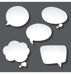Abstract white paper speech bubbles on gray vector image vector image