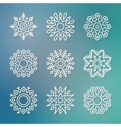 Christmas flat line snowflakes vector image