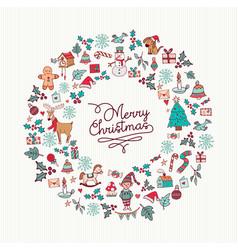 Christmas hand drawn cute holiday wreath card art vector