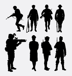 Soldier army and police silhouette 2 vector image vector image