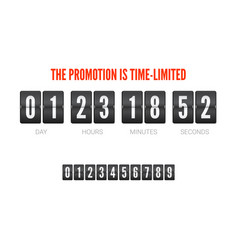 template of flip countdown timer clock counter vector image vector image